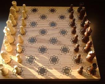 Custom Wood Chessboard - Red Oak and hand-inlaid Zircote