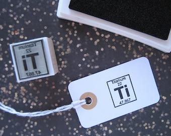 TITANIUM Rubber Stamp. Titanium Stamp. Periodic table Rubber stamp. Periodic Table Stamp. Science stamp. Chemist Stamp. Titanium Symbol