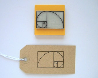 FIBONACCI SPIRAL Rubber stamp. Sacred Geometry rubber stamp. Golden Spiral stamp. Fibonacci Numbers stamp. Golden ratio stamp. Maths stamp