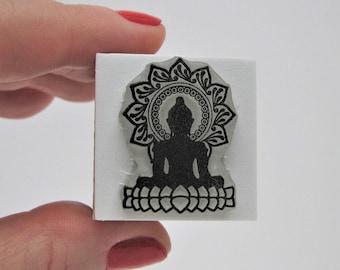 BUDDHA IN LOTUS Stamp. Buddha Stamp. Buddha Rubber Stamp. Buddhist Stamp. Zen Buddha Stamp. Tibetan Buddhism Stamp. Buddha. Zen garden