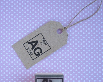 SILVER Rubber Stamp. Silver Stamp. Periodic table Rubber stamp. Periodic Table Stamp. Silver Symbol Stamp. Silver Symbol. Silver Element
