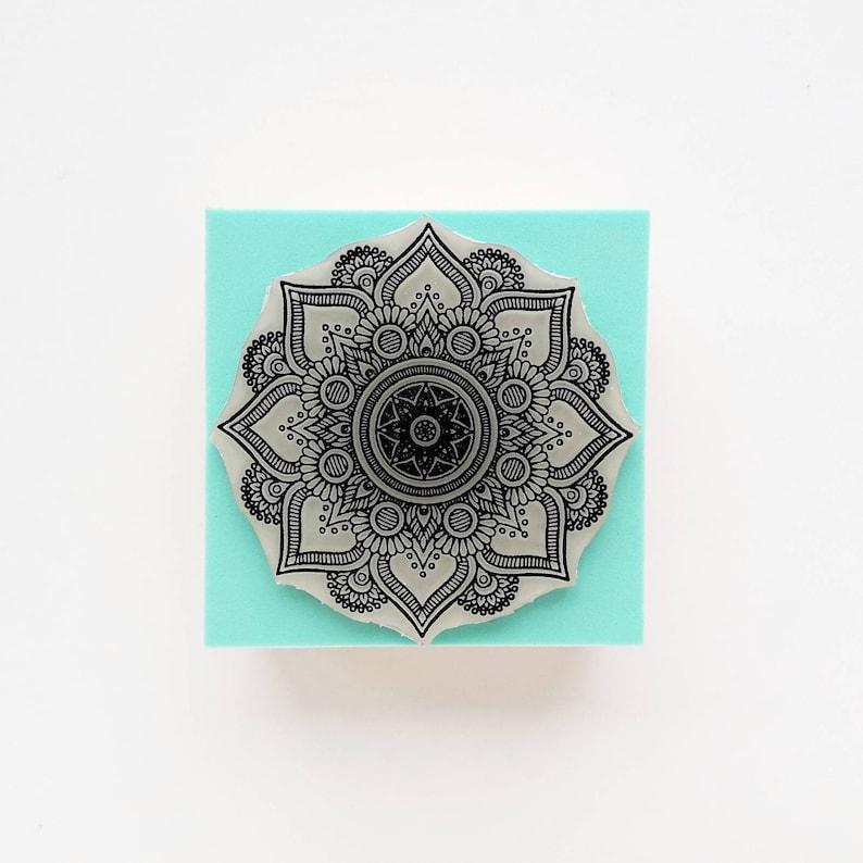 e7ec510c9 MANDALA Stamp Version 3. Wedding Rubber Stamp. Lotus Flower | Etsy