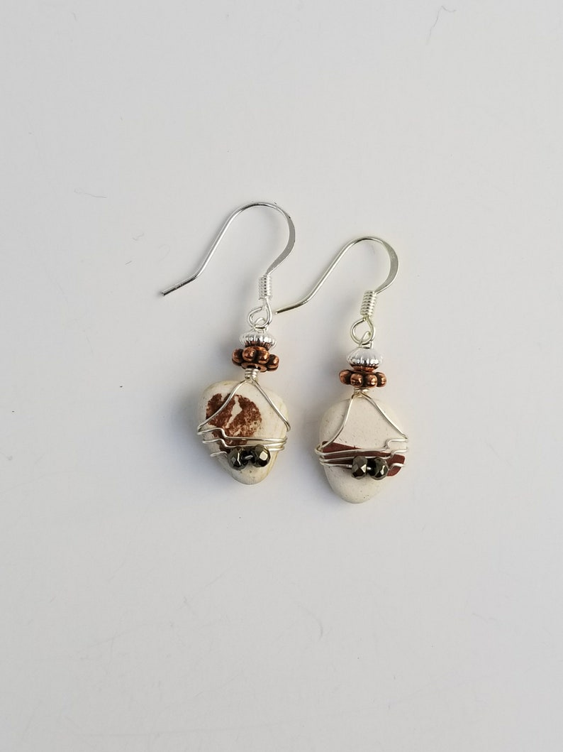 Scottish Ocean Tumbled Sea Glass Beach Pottery Wire Wrapped Earrings With Hematite