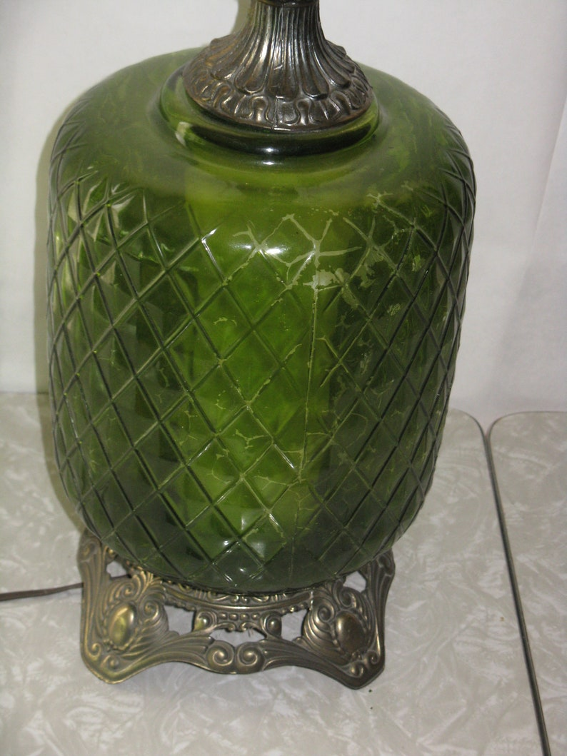 Vintage glass and metal table lamp pineapple design green 1970/'s