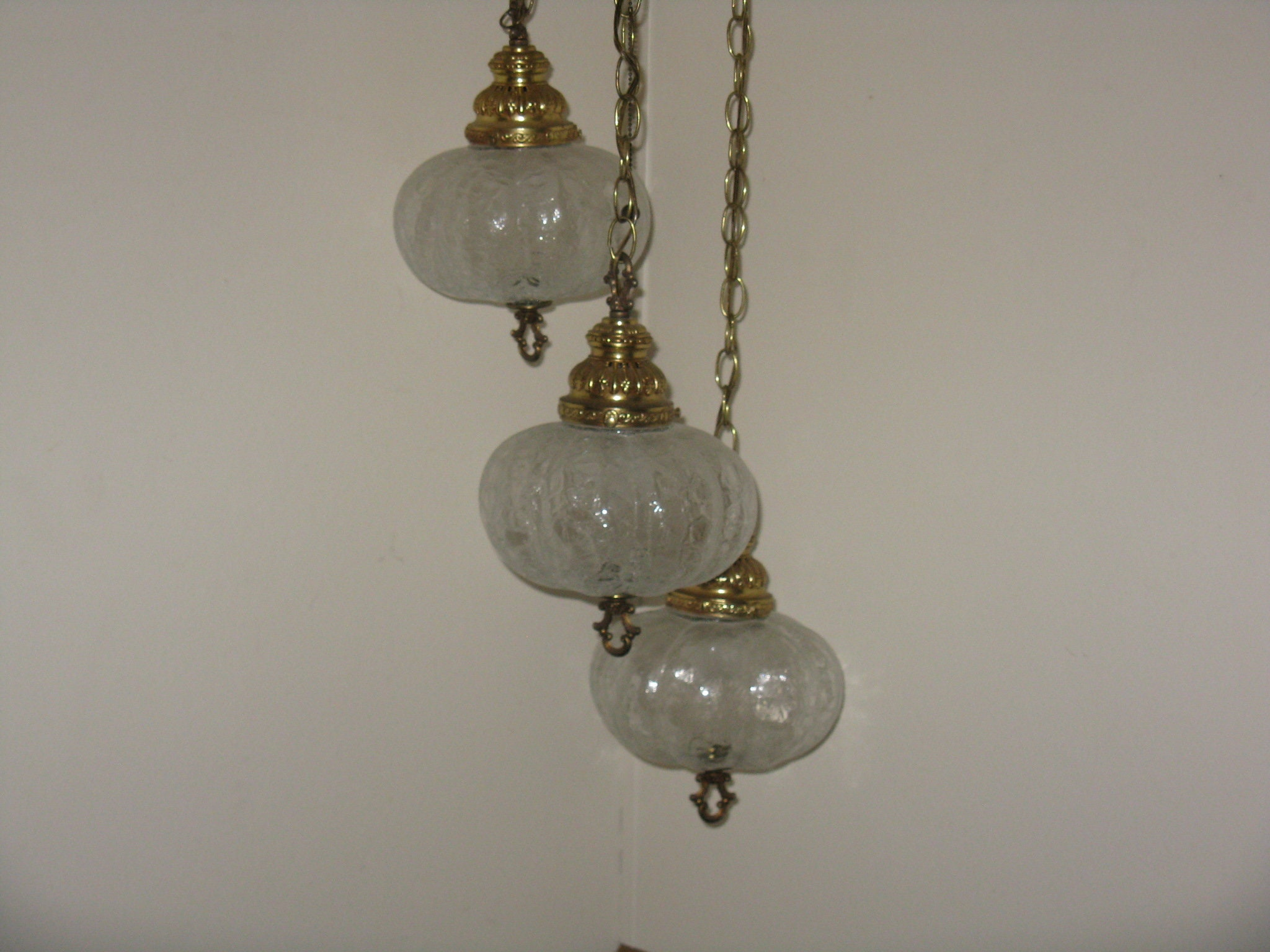 Vintage hanging swag lamp with 3 lights