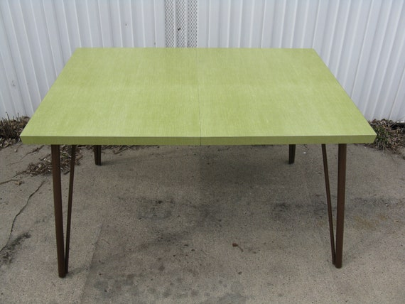 Mid Century Modern Green Formica Kitchen Table With Hairpin Etsy