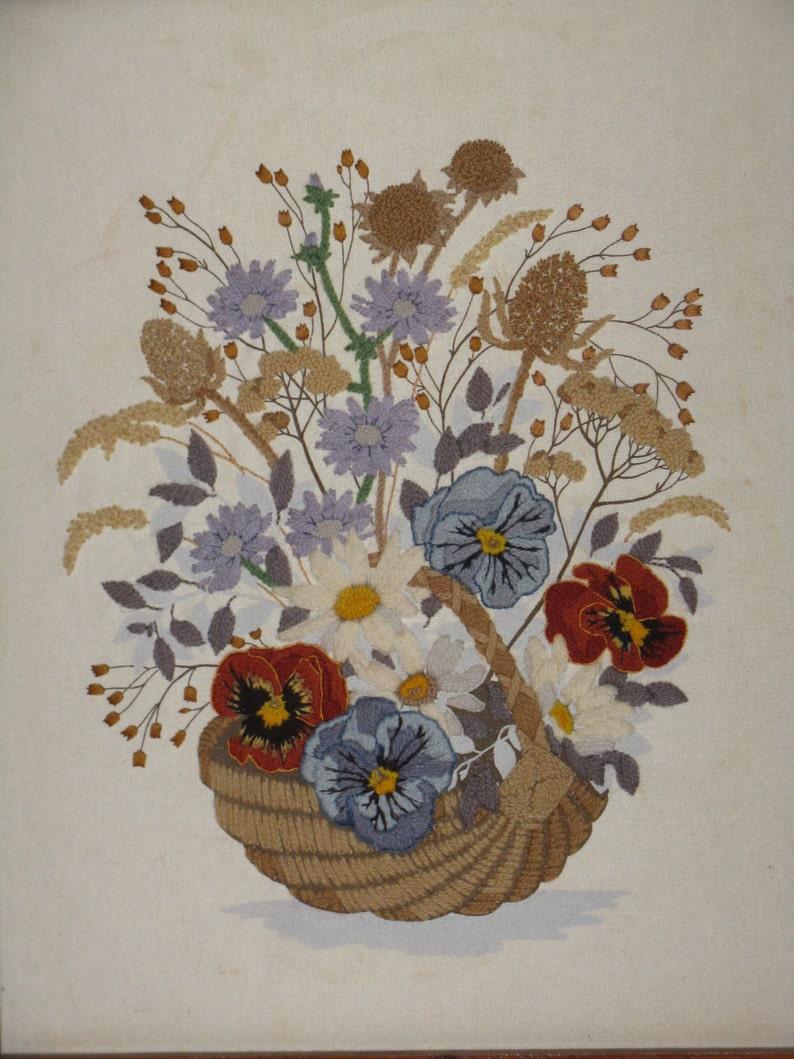 Vintage crewel embroidery picture basket flowers pansies framed