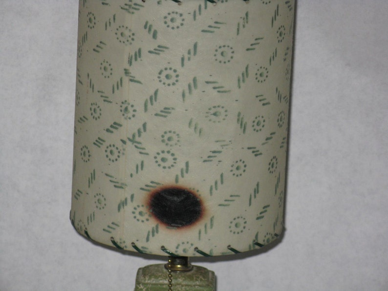 Mid Century Modern ceramic accent dresser lamp small original fiberglass shade green white gold flowers