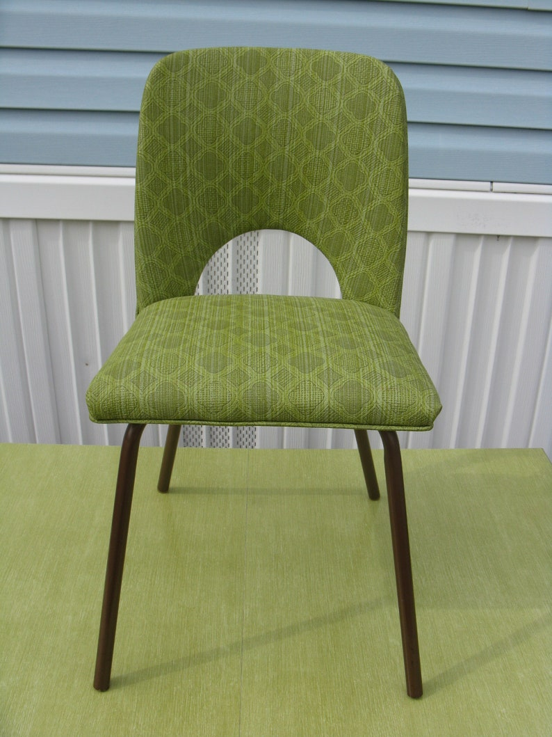 Mid Century Modern Green Vinyl Kitchen Chair Etsy