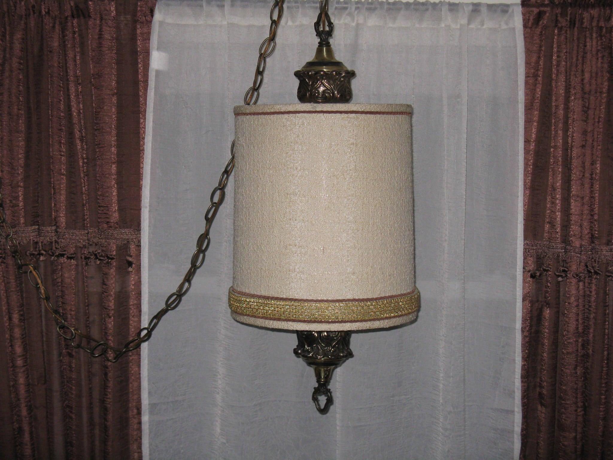 Vintage hanging swag lamp fabric shade 3 way bulb compatible