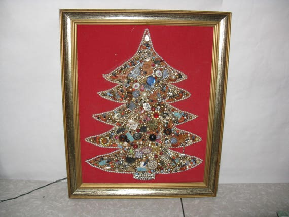 Vintage christmas jewelry tree wall decor lights up framed etsy