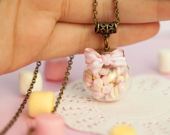 Marshmallow Bottle Globe Necklace / marshmallow jewelry / food jewelry / scented jewelry / fake food / romantic girly jewelry / kawaii