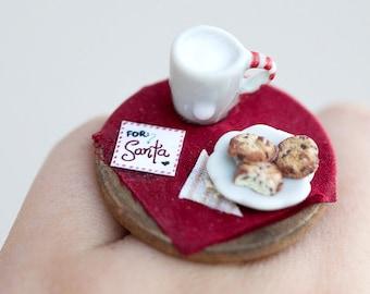 Table for Santa Ring / christmas ring / xmas jewelry / dollhouse miniature / miniature food jewelry / milk cookies for santa / mini food