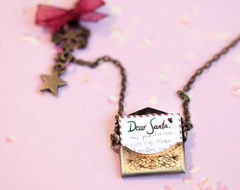 Letter for Santa Necklace / christmas jewelry / xmas necklace jewelry / dollhouse miniature / festive santa jewelry / letter to santa claus