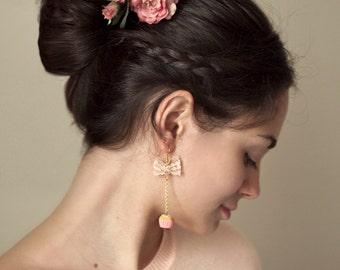 Long Romantic Cupcake Earrings / Lace earrings / vintage jewelry, food jewelry, bridesmaid gift, gift for her, romantic jewelry,food jewelry
