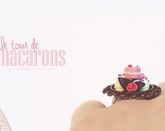Tour des Macarons Ring/ Tower Macarons Laduree/ Dollhouse miniature / food jewelry/ romantic vintage retro ring jewelry /kawaii france paris