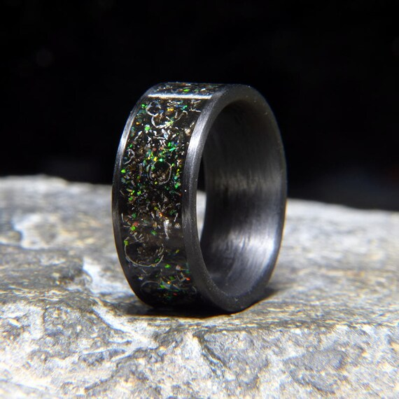 ee2081831d Meteorite Shavings Sprinkled with Fire & Snow Lab Opal Carbon Fiber Wedding  Band or Unique Gift Ring