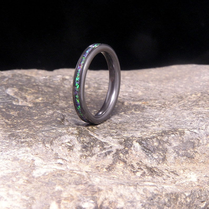 Crushed Lab Opal Inlay Black Zirconium Wedding Band or Unique Gift Ring