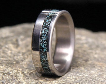 Sleeping Beauty Turquoise Wide Offset Inlay Titanium Wedding Band or Ring