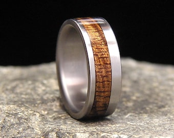 Very Curly Koa Wood wide Offset Inlay Titanium Wood Wedding Band or Ring