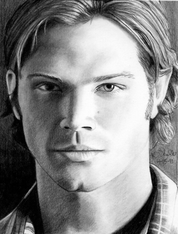 Drawing Of Jared Padalecki As Sam Winchester Etsy
