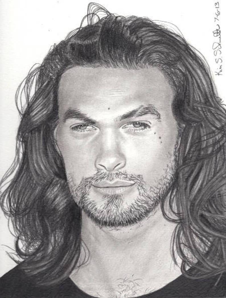 Original drawing of actor Jason Momoa