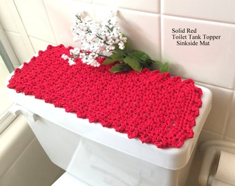 Cherry Red Toilet Tank Topper, Commode Cover, Cotton Crochet, Vanity Mat,  Bright Red Bathroom Doily, Fingertip Towel, Tank Runner