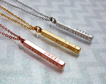 Mother necklace 4 sided bar necklace Personalized necklace Initial necklace Name necklace Best friend necklace Sister gift Family necklace