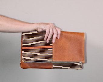 Leather Foldover Clutch - Orange Leather Clutch - Clutch Bag - Mud Cloth Purse - Mud Cloth Clutch - Boho Clutch - Leather Foldover Purse