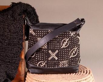 Leather Crossbody Bag - Black Leather Purse - Leather Shoulder Bag - Mud Cloth Purse - Ethnic Leather Bag - African Handbag - Leather Bag