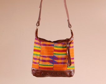 Russet Brown Leather Bag - Kente Cloth Bag - Leather Crossbody Bag - Boho Gift For Her - Leather Boho Bag - Everyday Bag - Tribal Bag