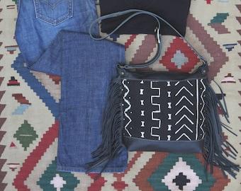 Leather Fringe Purse - Fringe Crossbody Bag - Black Leather Festival Bag - Black Leather Crossbody Bag - Mud Cloth Purse - African handbag
