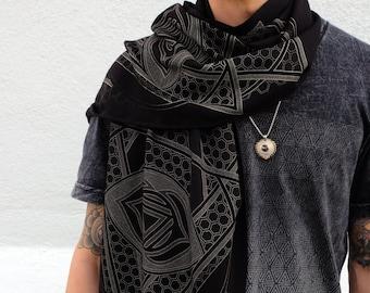 Third Eye Chakra Pashmina / Turkish Cotton Shawl / Sacred Geometry Clothing / Festival + Streetwear Scarf