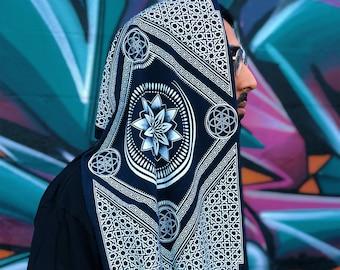 f90c3ec1cd770 Eternal Series Infinity Scarf / Sacred Geometry Festival Clothing / Bamboo  + Organic Cotton Hood