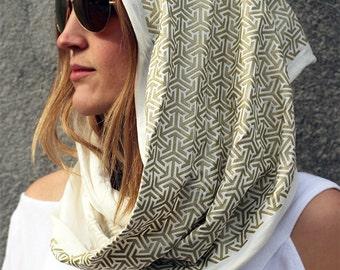 DESERT SKIES Infinity Scarf - Burning Man Pattern - Screen Print Clothing - Sacred Geometry