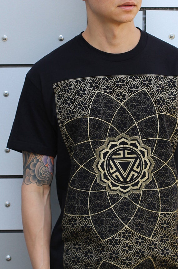 VITALITY - Men's Rythmatix Long Sleeve Hoodie - Sacred Geometry Influence - Gold Screen print GUF2Ubr