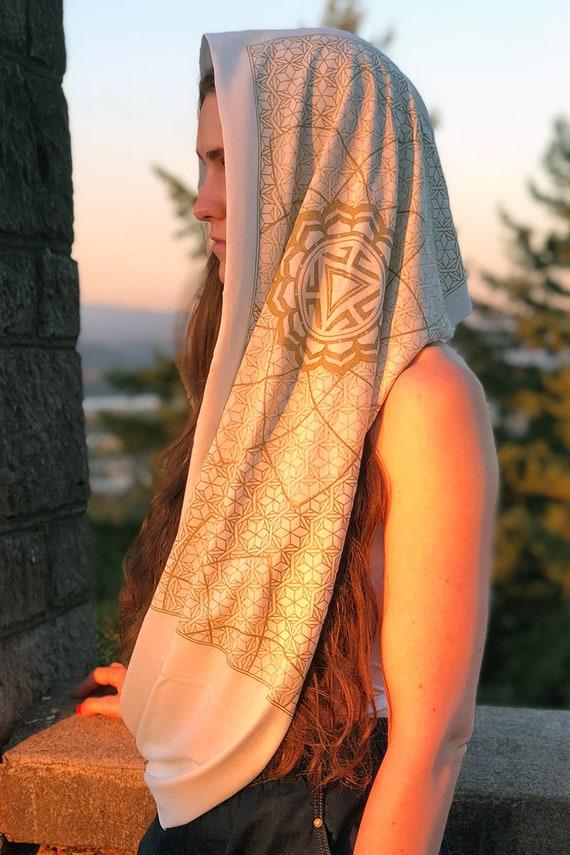 Organic Cotton Hood Vitality Unisex Infinity Scarf  Sacred Geometry Festival Clothing  Bamboo