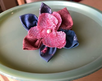 Spring Petals Blue/Pink Fabric Flower Hair Clip