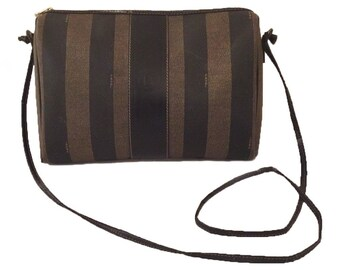 Vintage Authentic Fendi Pequin Crossbody Bag - Vintage Fendi Bag - Fendi  Logo Bag - Fendi Striped Bag - Fendi Roma Italy 1925 Bag - Brown 14f561b932470