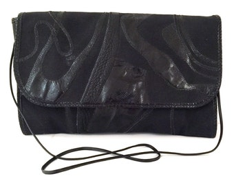 a6e1aa09d724 Vintage Carlos Falchi Black Purse - Black Carlos Falchi Purse - Carlos  Falchi Handbag - Carlos Falchi Black Canvas and Leather Handbag