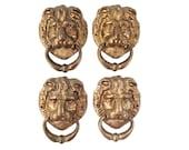 Vintage Brass Lion Head Hardware - Brass Lion Ring Hardware - Mid Century Brass Lion Hardware - Door Knocker - Hollywood Regency Hardware