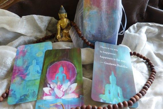 Boeddhistische Wijsheid Set Van 40 Kaarten Met Bijpassende Boeddhistische Citaten In Het Engels Op De Rug