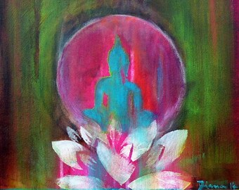 """Buddha """"Spirit of ZEN"""" 16 x 12 """"  Present for Him // Present for Her // Fine Art Print on Canvas // Wall Art // Home sweet Home // Lotus"""