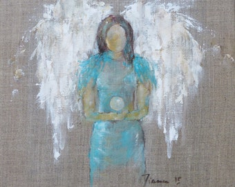 """Guardian of the Inner Light""""  Angel print on canvas 12 x 12 inch"""