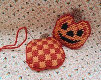 Halloween Jack-o-Lanturn Mini Pillow, Needlepoint  Pumpkin Pincushion,  Halloween Decor