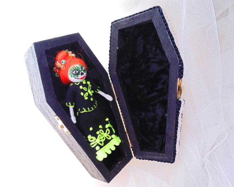Day of the Dead Miniature Art Doll with COFFIN Coffin doll image 0