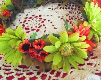 Sunflower and Daisy Renaissance Faire Flower Crown, Autumn Daisy Flower Crown, Bridal Flower Crown, Lime and Orange Festival Crown