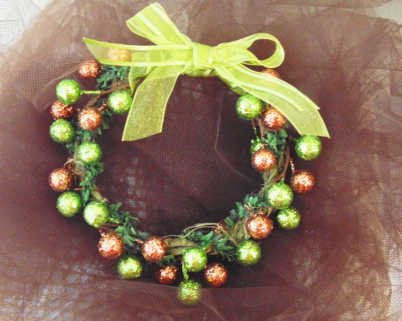 Copper and Green Berries Wreath Ornament Harvest Berries image 0