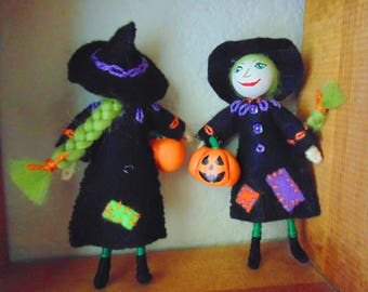 Miniature Wicked Witch Doll, Black Witch Art Doll, Mini Art Doll, Dollhouse Witch, Halloween Witch, Mini Halloween Witch, Witch Doll