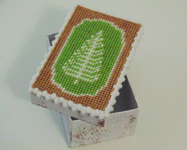 Woodland Winter Pine Tree Box Christmas Gift Box Needle Art image 0